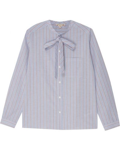 С рукавами синяя блузка с завязками Bonpoint