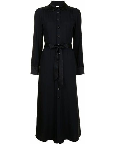 Черное платье миди с воротником из вискозы Goat