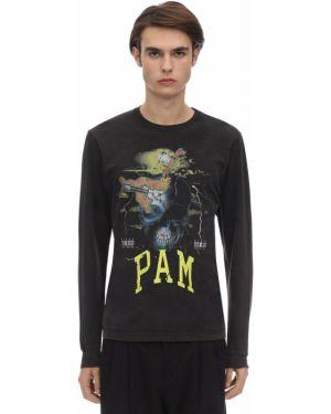 Czarny t-shirt z długimi rękawami bawełniany P.a.m. Perks And Mini