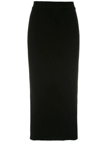 Черная юбка миди в рубчик из вискозы Martha Medeiros