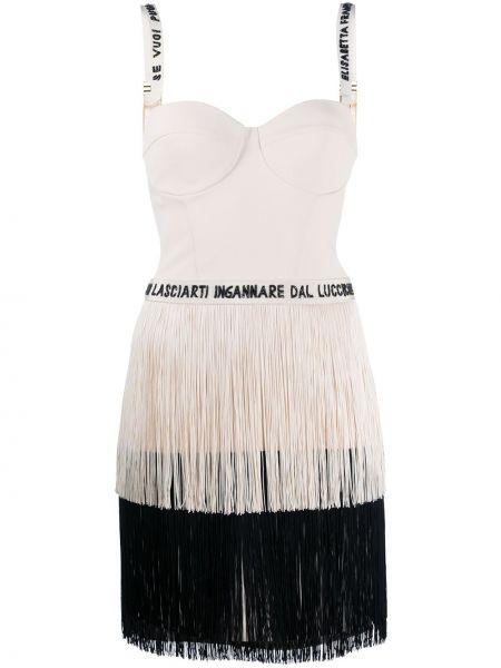 Платье мини с бахромой с вырезом без рукавов Elisabetta Franchi