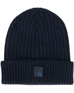 Prążkowany niebieski czapka beanie wełniany Woolrich Kids