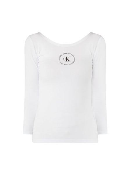 Z rękawami bawełna biały bluzka z dekoltem Calvin Klein Jeans
