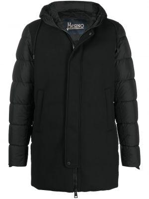 Czarny prosto długi płaszcz z długimi rękawami z wiskozy Herno