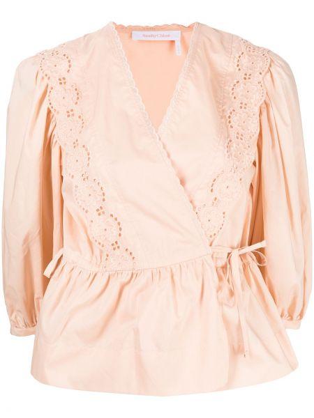 С рукавами блузка с вышивкой с завязками See By Chloé