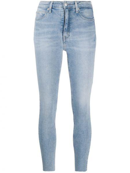 Хлопковые синие джинсы-скинни с поясом с пайетками Calvin Klein Jeans