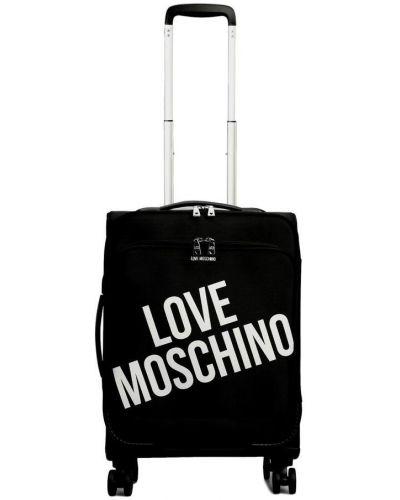 Czarna walizka w paski Love Moschino
