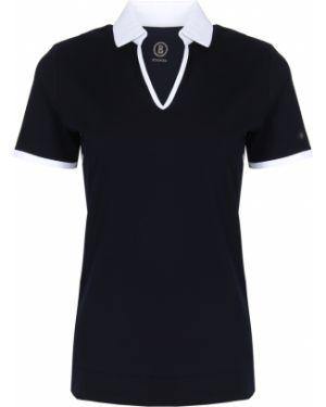 Хлопковая футбольная синяя футболка с V-образным вырезом Bogner