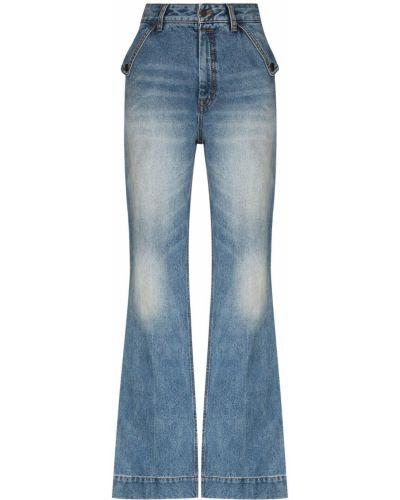 Niebieskie jeansy z wysokim stanem bawełniane Zimmermann