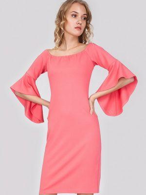 Платье миди коралловый красный мадам т