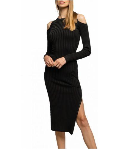 Czarny długi szlafrok elegancki w paski Guess