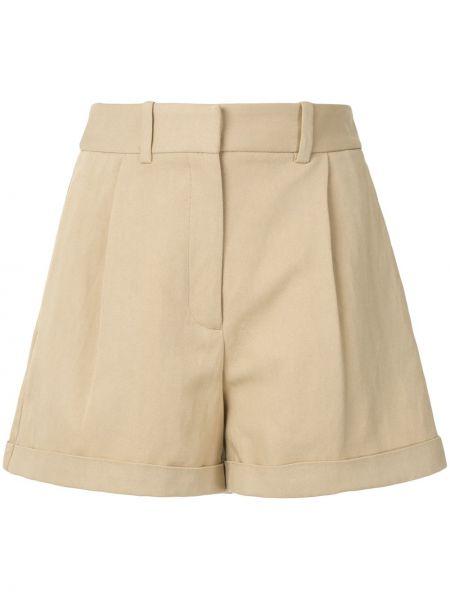 Коричневые хлопковые короткие шорты с карманами Nili Lotan