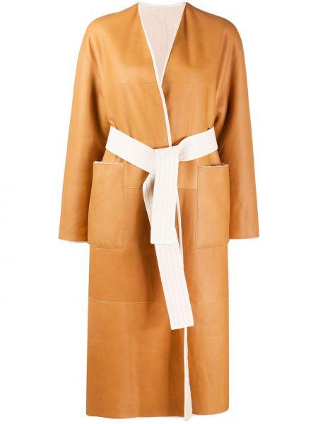 Шерстяное длинное пальто с запахом с поясом Blancha