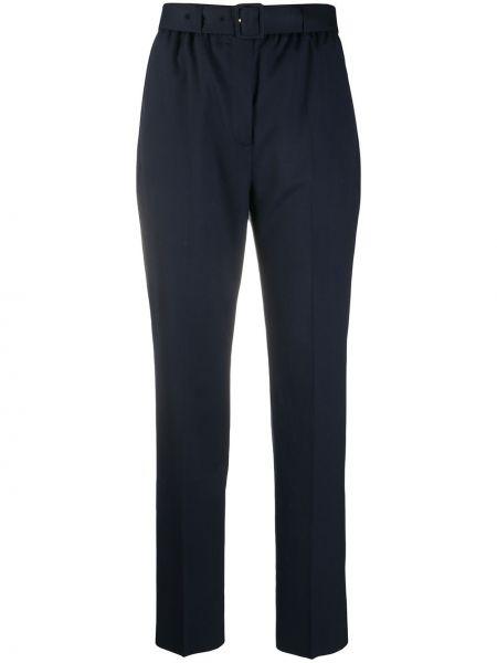 Зауженные шерстяные синие брюки Agnona