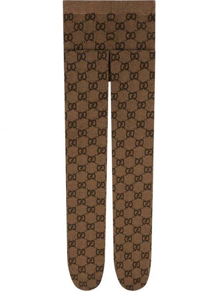 Brązowe rajstopy z nylonu z printem Gucci