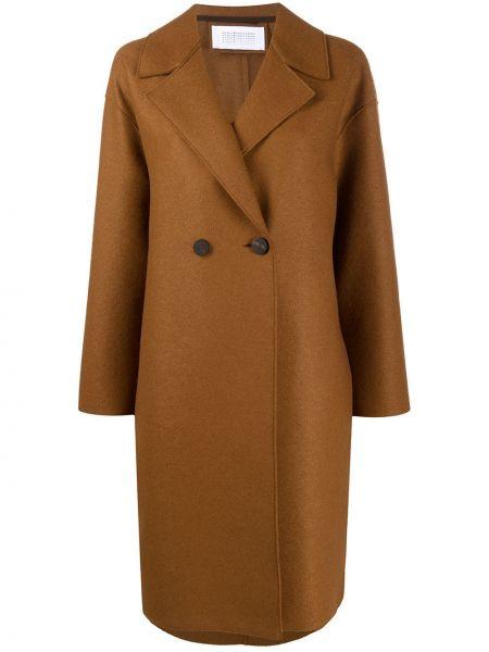 С рукавами коричневое пальто классическое на пуговицах с лацканами Harris Wharf London