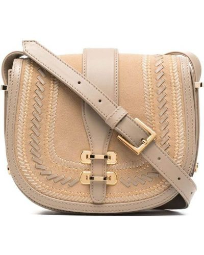Бежевый кожаный сумка на плечо с карманами Alberta Ferretti