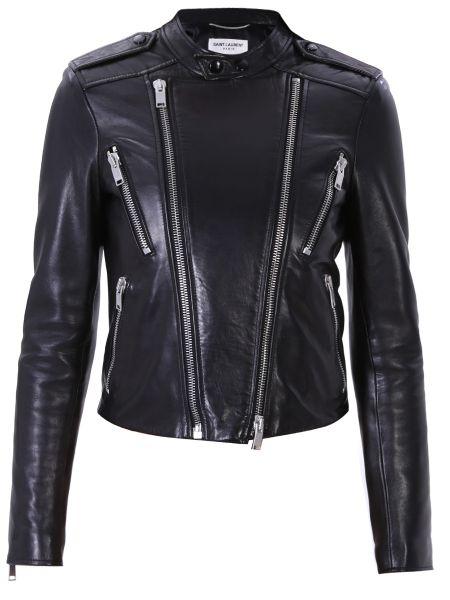 Кожаная куртка байкерская с карманами Saint Laurent