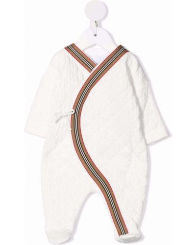 Biała piżama z długimi rękawami Burberry Kids