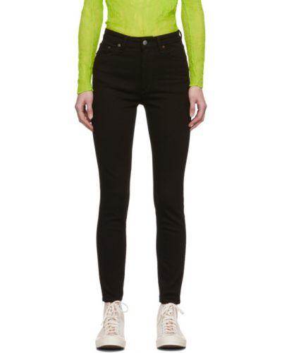 Czarny jeansy na wysokości z kieszeniami z łatami Acne Studios