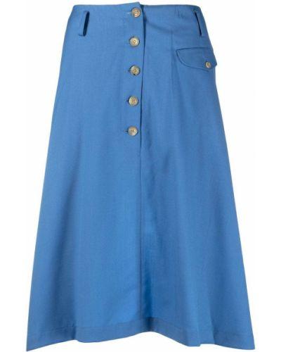 Wełniany niebieski asymetryczny spódnica midi z kieszeniami Comme Des Garcons Homme Plus