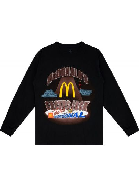 Czarny t-shirt z długimi rękawami bawełniany Travis Scott Astroworld