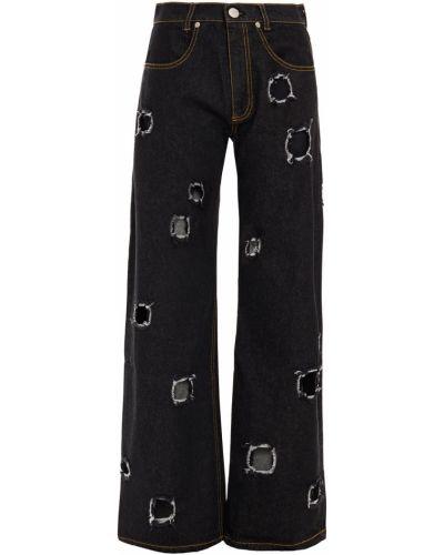 Хлопковые черные широкие джинсы свободного кроя Rejina Pyo