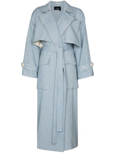Синее шерстяное пальто Anouki