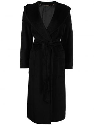 Шерстяное черное длинное пальто с запахом Cinzia Rocca