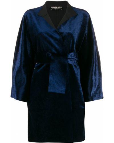Синее длинное пальто с поясом Le Petite Robe Di Chiara Boni