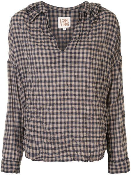 Рубашка с воротником с манжетами на пуговицах с V-образным вырезом A Shirt Thing