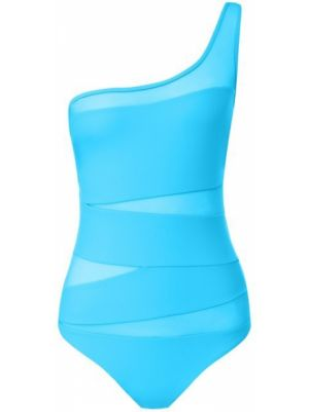 Плюшевый бирюзовый слитный купальник с открытой спиной сетчатый Natayakim