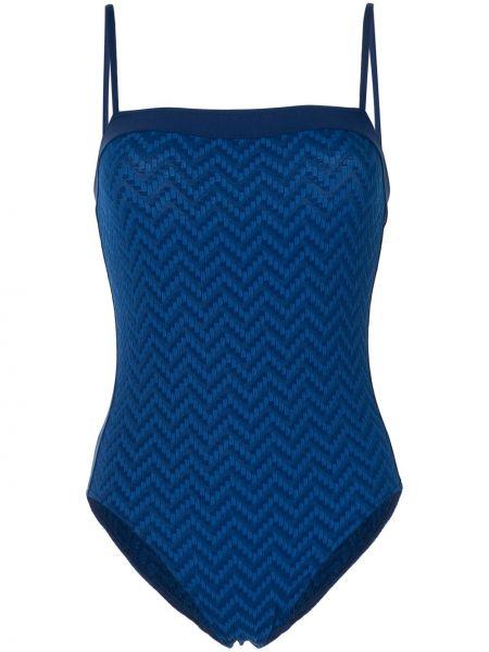 Тонкий синий слитный купальник с вырезом Eres