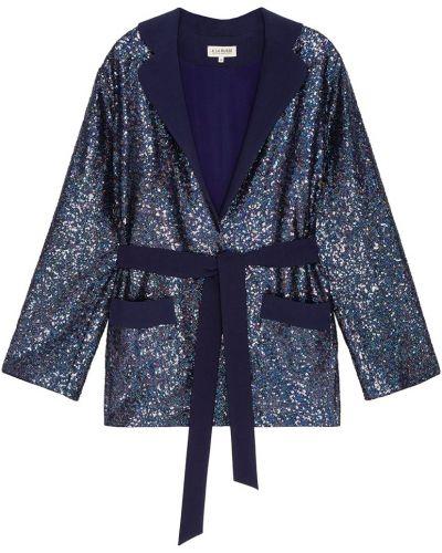 Шелковый синий брючный костюм с воротником A La Russe