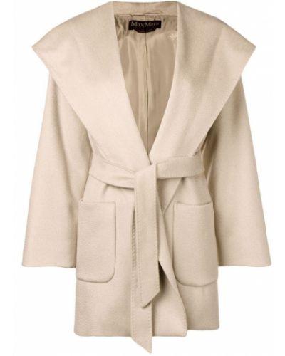 Пальто с поясом - коричневое Max Mara Studio