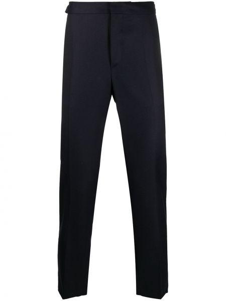Брючные прямые темно-синие прямые брюки с поясом Harmony Paris