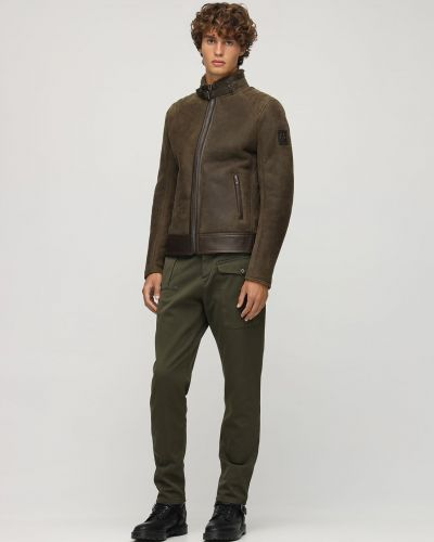 Zielony kurtka z kołnierzem z mankietami z kieszeniami Belstaff