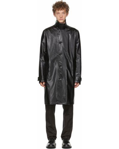 Czarny długi płaszcz z paskiem z klamrą Bottega Veneta
