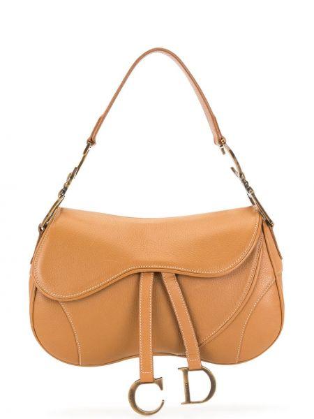 Z paskiem brązowy skórzany torba kosmetyczna z łatami Christian Dior