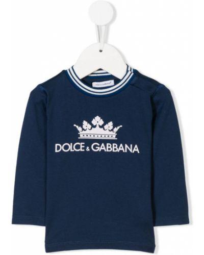Толстовка синяя с заплатками Dolce & Gabbana Kids