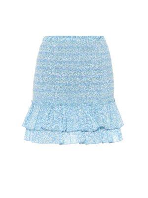 Плиссированная ватная хлопковая синяя юбка мини Jonathan Simkhai