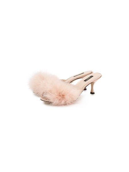 Кожаные розовые мюли на каблуке с перьями Dolce & Gabbana