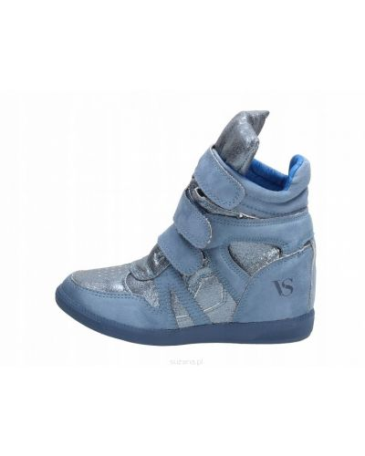 Niebieskie sneakersy skorzane na rzepy Vices
