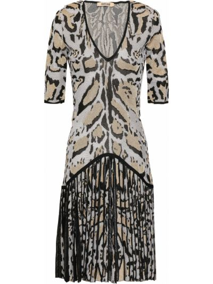 Платье мини с декольте - белое Roberto Cavalli