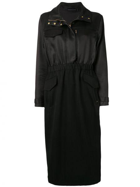 Черное приталенное платье миди со шлицей на молнии Brandon Maxwell