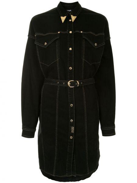Джинсовое платье на пуговицах с поясом Versace Jeans Couture