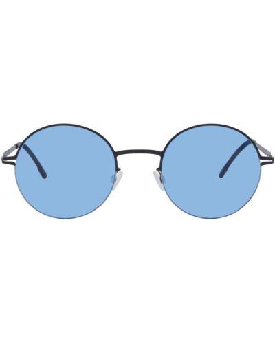 Черные солнцезащитные очки прозрачные с тиснением Mykita