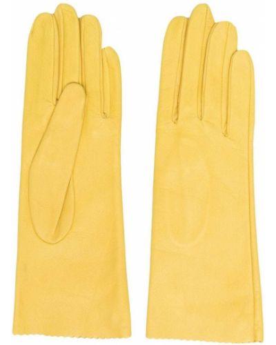 Желтые кожаные перчатки с подкладкой Manokhi