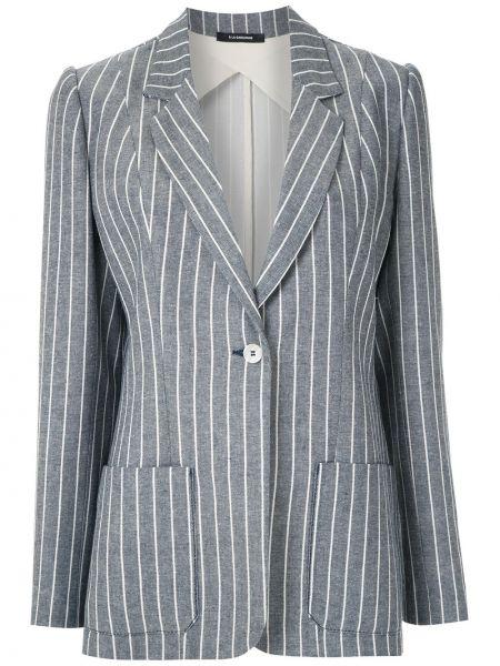 Синий классический пиджак в полоску на пуговицах À La Garçonne