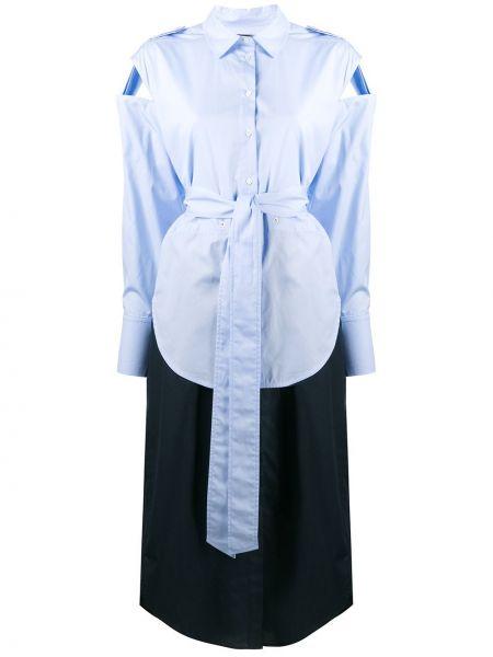 Синее классическое платье миди на пуговицах с воротником Frenken